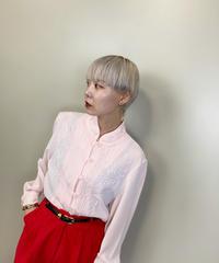 3D design stand collar  light pink shirt jacket-1402-9