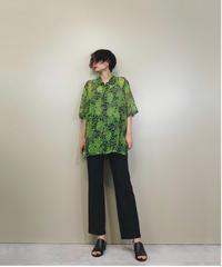 Green rose see-through rétro shirt-1258-7
