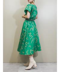 FIRST LADY geometric design green dress-1922-5