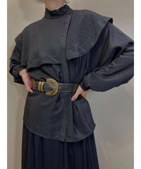 PARIENNE TOKYO black big collar shirt-2022-7