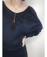 MOONGLOW beads neck design knit dress -1695-2