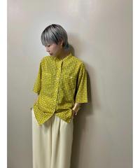 Genet DUPRE mustard yellow stand collar shirt-1994-6