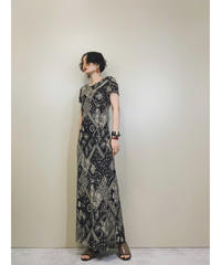 Talbots patchwork design black maxi dress-1296-7