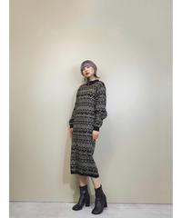 CEST eccentric pattern knit dress-1598-1