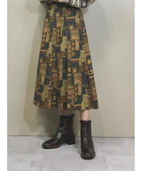 Mural art design medium flare skirt-1512-11