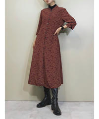 Tokyo style stand collar burgundy dress-1403-9