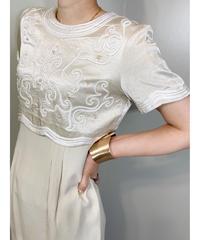 3Ddesign champagne gold MADE IN U.S.A mini length dress-1333-8