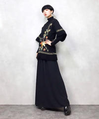 Embroidery flower black knit-755-12