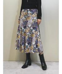 Botanical pattern elegant flare skirt-1284-7