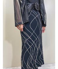 ROSACE artistic black long tight skirt-1918-5