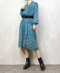 Bandana pattern turquoise blue dress-1051-4