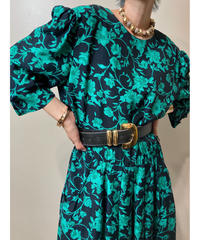R.E.O. MADE IN U.S.A green floral dress-1988-6
