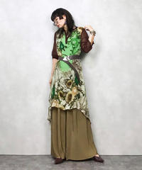 Rhindrom green flower see-through dress-561-9