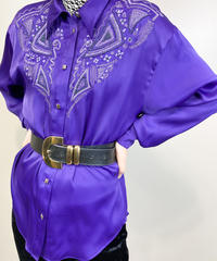 Fernande Royer purple embroidery shirt-1723-3