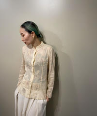 Floral embroidery light beige stand collar shirt-2079-7