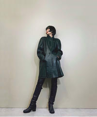 MADDOX dark green ram leather coat-1573-12