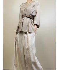 PAPIORA see-through design neck pleats tops-1180-6