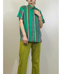 MISS JUNKO green stripe shirt-1324-8