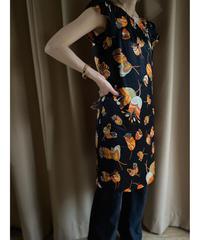 MADE IN SPAIN orange flower silk dress-2021-7