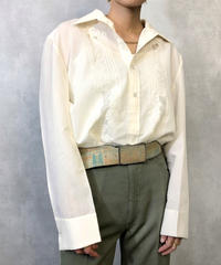 Leaf embroidery ivory classical shirt-946-3