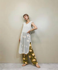 Leaf design khaki easy pants-1219-6