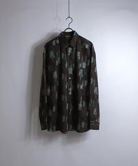LS総柄ビッグシャツ /ブラウン