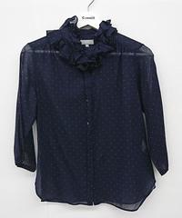 【Ladies】MARGARET HOWELL ドット柄フリルシャツ(115)