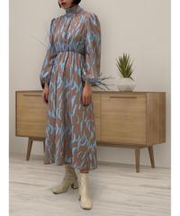diploa | PRINTED BOW DRESS | Brown x Sax