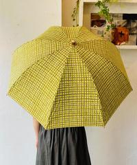 <unisex>Bon Bon Store(ボンボンストア) ドローイングチェック長傘(晴雨兼用)/オリーブ×ピスタチオチェック