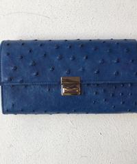<women>isola(アイソラ)ギャルソン型長財布・藍染 オーストリッチ 三段錠(13102)   / ネイビー
