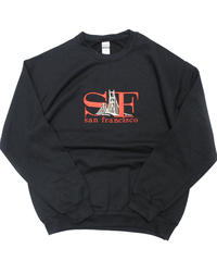 "San Francisco Souvenir Crew Neck Sweat Shirt ""SF"" Black"
