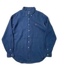 00s Polo Ralph Lauren Long Sleeve Linen Shirts Navy
