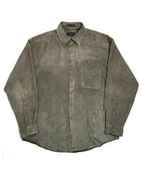 90s Van Heusen Fake Suede Long Sleeve Shirt Olive