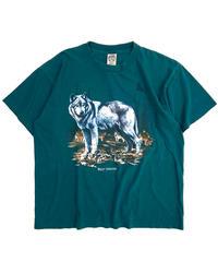 90s Wolf Print Short Sleeve T-Shirts Green