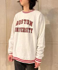 Boston University Rib Trim Reverse Weave Crewneck Sweat Shirts