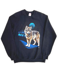 80s Jerzees Wolf Print Crewneck Sweatshirts Black