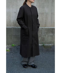 THE HINOKI / Cotton Bafu Stand Up Coller Shirt Dress / col.BLACK