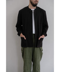 THE HINOKI / コットンボイルパラシュートクロス スタンドアップカラーシャツ / col.BLACK