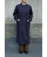 THE HINOKI / Cotton Bafu Stand Up Coller Shirt Dress / col.NAVY