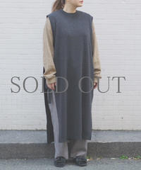 bunt / WOOL LONG TAPE KNIT VEST / col.チャコール