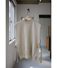 bunt / FINE COTTON TAPE KNIT VEST / col.BEIGE