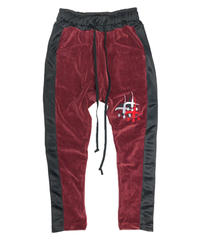 VELOURS SIDESNAP PANTS burgundy