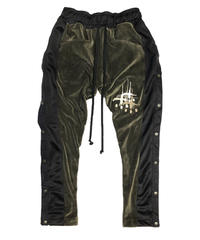 VELOURS SIDESNAP PANTS forest green