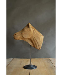 09-MT344370 Wood carved object horse head w/stand
