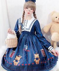 【d.Alice】くまちゃんワンピース 1072-NVY