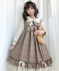 【d.Alice】タータンチェック 長袖ワンピース 1068-BRN 1068-GRY