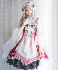 【d.Alice】レースブラウス付ワンピース  (レッド) 1061