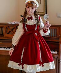 【d.Alice】クラシック蝶ネクタイワンピース 1055-RED