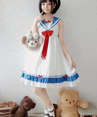 【d.Alice】セーラー襟付 白×青ワンピース
