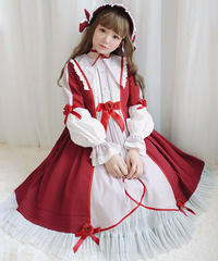 【d.Alice】ボンネット付 赤 長袖 ワンピース 1071